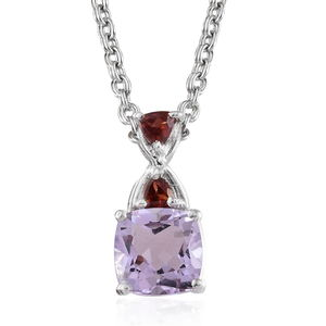 Rose De France Amethyst, Mozambique Garnet Platinum Over Sterling Silver Pendant With Stainless Steel Chain (20 in) TGW 1.55 cts.