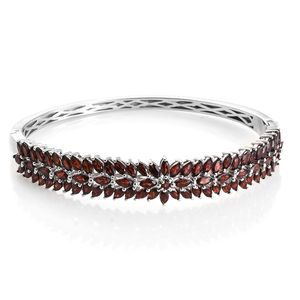 Mozambique Garnet Platinum Over Sterling Silver Bangle (8 in) TGW 0.17 cts.