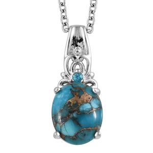 KARIS Collection - Mojave Blue Turquoise, Signity Pariaba Topaz Platinum Bond Brass Pendant With Stainless Steel Chain (20 in) TGW 3.49 cts.