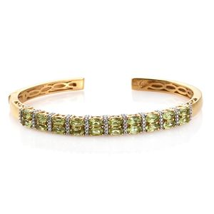 KARIS Collection - Hebei Peridot ION Plated 18K YG Brass Cuff (7.25 in) TGW 4.90 cts.