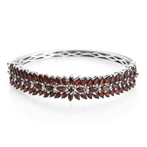 Mozambique Garnet Platinum Over Sterling Silver Bangle (6.50 in) TGW 12.18 cts.