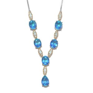 Indian Ocean Quartz, Multi Gemstone Platinum Over Sterling Silver Necklace (18 in) TGW 34.80 cts.