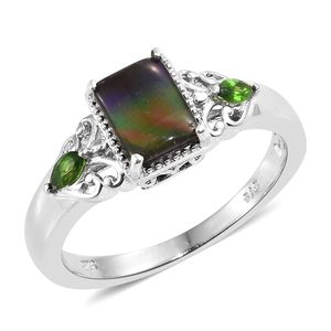 Canadian Ammolite, Russian Diopside Platinum Over Sterling Silver Ring (Size 11.0) TGW 1.45 cts.
