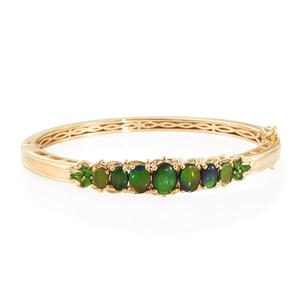 Canadian Ammolite, Russian Diopside Vermeil YG Over Sterling Silver Bangle (7.25 in) TGW 6.83 cts.