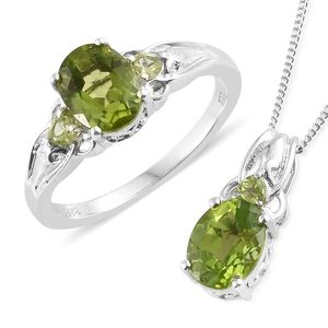 Hebei Peridot Platinum Over Sterling Silver Ring (Size 9) and Pendant With Chain (20 in) TGW 4.36 cts.