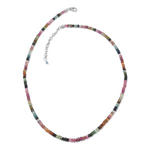 Multi-Tourmaline Beads Platinum Over Sterling Silver Necklace with Lobster Lock (18 in) TGW 57.15 cts.