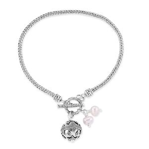 Bali Legacy Collection Freshwater Pearl Sterling Silver Bracelet (7.00 In)