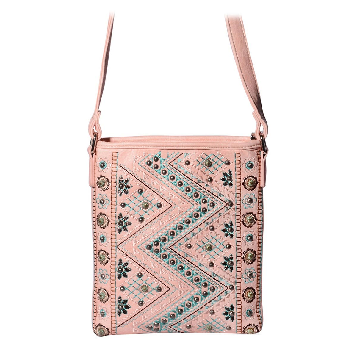 P G COLLECTION Pink Vegan Leather Embroidered Tribal Print Southwest  Messenger Crossbody Bag (10.5x8. 7c9e04febc505