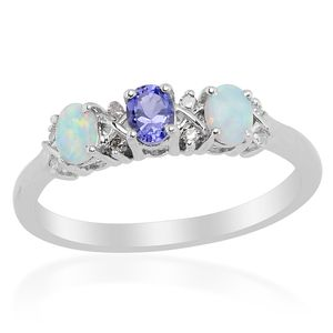 Tanzanite, Diamond Sterling Silver Ring (Size 7) TDiaWt 0.03 cts, TGW 0.168 cts.