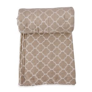 Beige Microfiber Plush Flannel Quatrefoil Print Throw (78x59 In)
