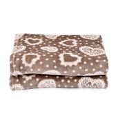 Dark Gray Heart Shape Pattern Microfiber Flannel Blanket (74x68 in)