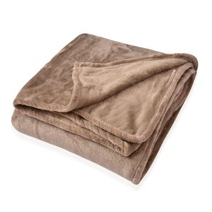 Camel Microfiber Flannel Blanket (60x42 in)