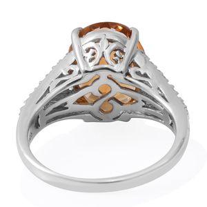 Brazilian Citrine, Multi Gemstone Platinum Over Sterling Silver Ring (Size 11.0) TGW 9.55 cts.