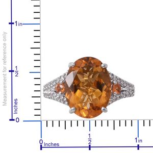 Brazilian Citrine, Multi Gemstone Platinum Over Sterling Silver Ring (Size 10.0) TGW 9.55 cts.